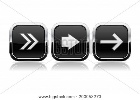 Black button NEXT set. Square shiny 3d icons with chrome frame. Vector illustration isolated on white background