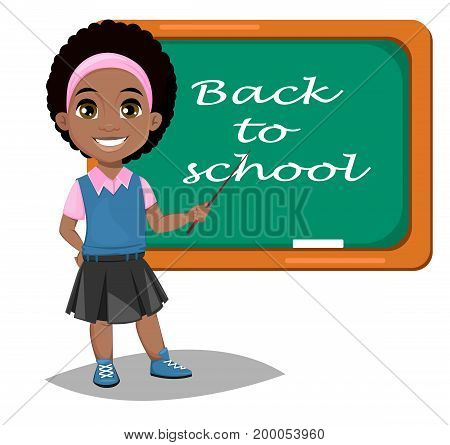 Back to school. Cute Afro-American girl standing near blackboard. Pretty little schoolgirl. Cheerful cartoon character. Vector illustration
