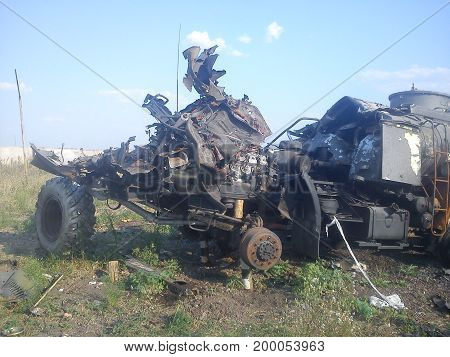 War. Burned cars after the bombardment. Actions in Ukraine.