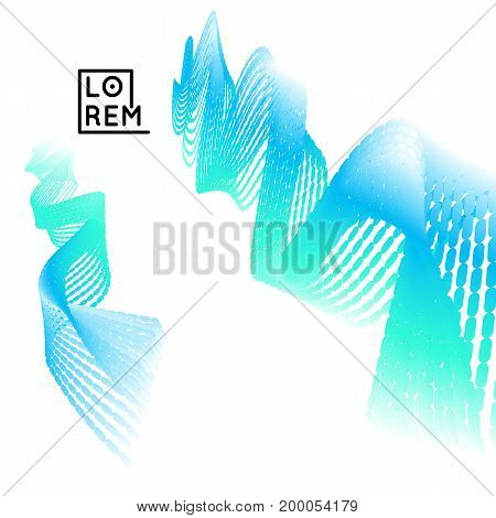 3D Wavy Background. Dynamic Effect. Abstract Vector Illustration. Design Template. Modern Pattern