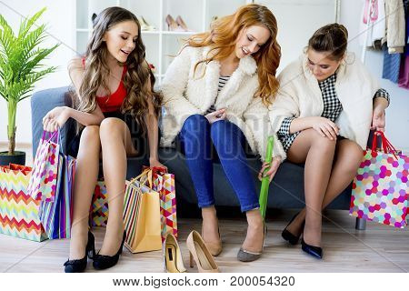Friends are shopping together in a mall