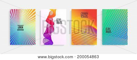 Minimal covers design. Geometric halftone gradients, vibrant shapes. Suitable for posters, covers, prints. stock vector