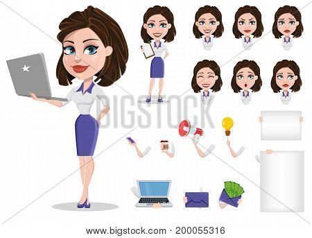 Beautiful business woman set. Businesswoman in formal wear constructor. Various face expressions. Cute cartoon character. Vector illustration.