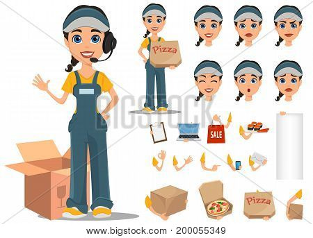 Courier woman character creation set. Professional fast delivery. Full height various emotions gestures. Vector illustration.