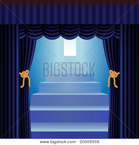 Blue Curtains With Staircase