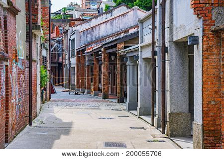 TAIPEI TAIWAN - JUNE 26: Street view of Bopiliao historical block a famous area which people visit to see traditional Chinese architecture as it was in the 18th century on June 26 2017 in Taipei