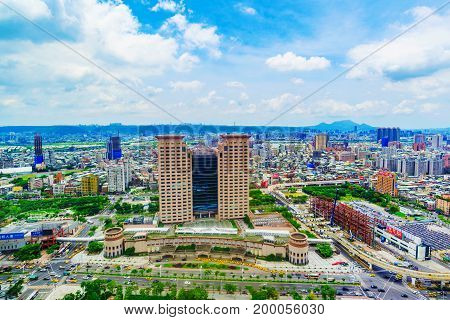 TAIPEI TAIWAN - JUNE 24: This is a view of the Banqiao district in New Taipei where many new buildings can be seen the building in the center is Banqiao station on June 24 2017 in Taipei
