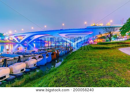 Night view of a riverside park in Taipei