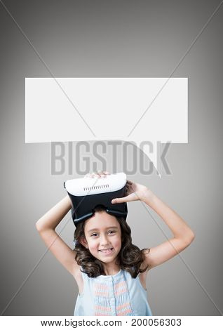 Digital composite of Girl with speech bubble holding a VR headset against grey background