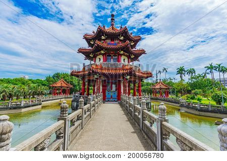 Traditional Chinese pagoda in 228 memorial peace park