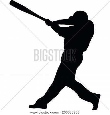 man as baseball batter is shooting silhouette vector