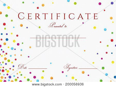 Certificate, Diploma of completion with colorful (bright, rainbow) abstract background. Vector with circles rainbow texture for Certificate of Achievement