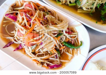 Thai papaya salad also known as Som Tum from Thailand