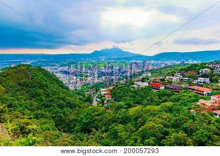 Scenic mountain view of Taipei city with nature