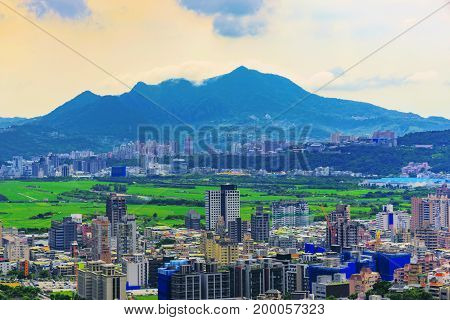 Scenic view of Taipei taken from Battleship rock mountain