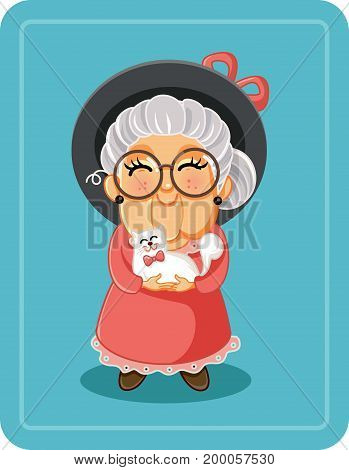 Cute Senior Lady with Her Cat Pet Vector Illustration