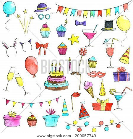 birthday party doodle set, watercolor isolated hand drawn elements