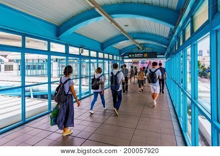 TAIPEI TAIWAN - JUNE 09: This is an overpass bridge which passenger use to transfer to the other line in Zhongxiao fuxing MRT station a busy station in the downtown area on June 09 2017 in Taipei