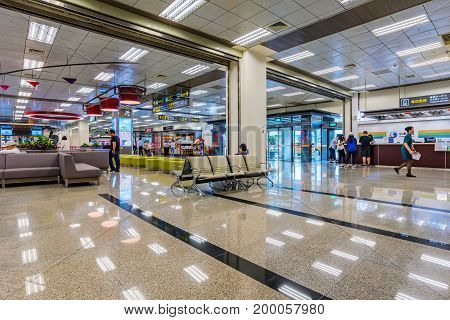 TAIPEI TAIWAN - JUNE 09: This is a seating area near the check-in desks of Songshan airport an airport close to the downtown area of Taipei on June 09 2017 in Taipei