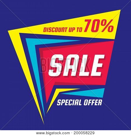 Sale discount up to 70% - vector banner template concept illustration. Special offer abstract layout. Creative design element.