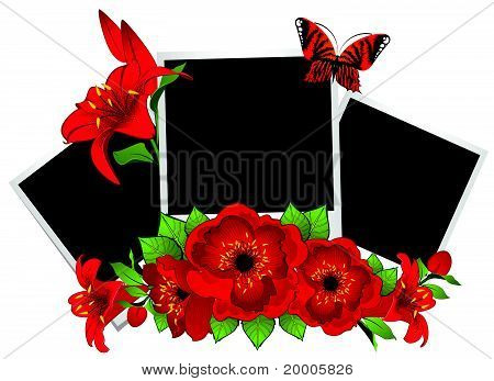photo frames with flowers