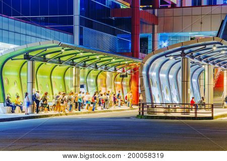 TAIPEI TAIWAN - JUNE 08: This is a view of the Banqiao bus station a popular and busy bus station in the New Taipei area on June 08 2017 in Taipei