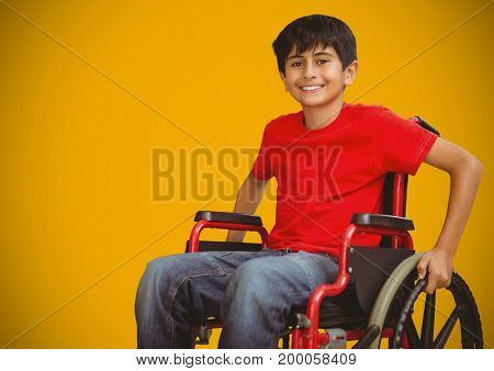 Digital composite of Disabled boy in wheelchair with bright yellow background