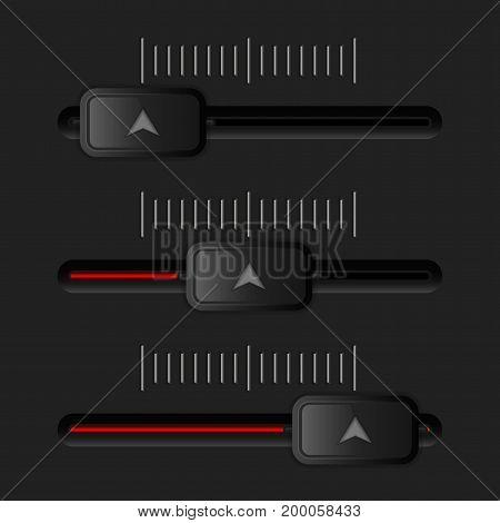 Media slider bar. Black and red user interface element. Vector 3d illustration
