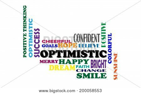 Positive Thinking, , Hopeful and Optimistic Word cloud. Vector illustration