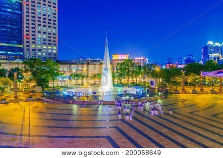 TAIPEI TAIWAN - JUNE 08: This is a view of the Banqiao citizen square in New Taipei. Banqiao is a district well known for its high rise buildings and modern architecture on June 08 2017 in Taipei