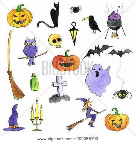 halloween doodle set, watercolor isolated hand drawn elements