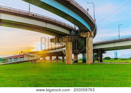 Bridge with sunset and nature in Taipei