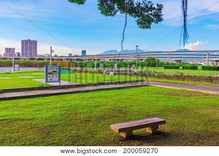View of riverside park scenery in Taipei