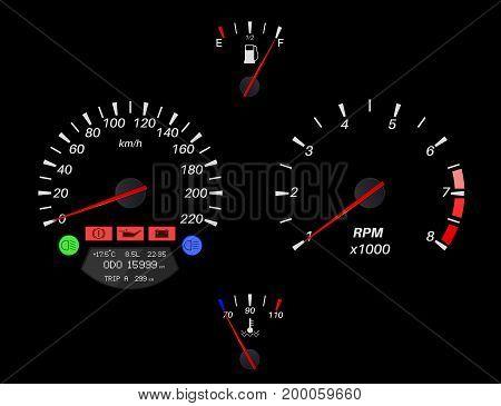 Car dashboard on black background. Vector illustration