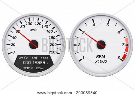 Speedometer and tachometer. White gauge. Vector illustration isolated on white background