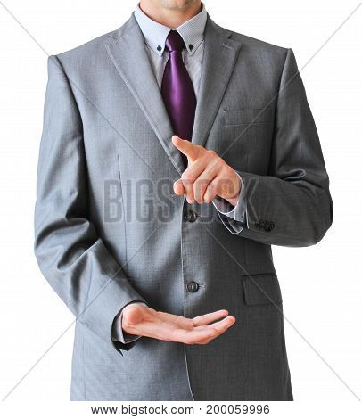 Business Man Press With Finger And Second Hand Down, Isolated On White Background