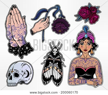 Set of macabre, magic, eerie, sorcery, gothic style classic flash tattoo patches or elements. Set of traditional stickers, pins, comic badges. Pop art item. Fashionable vector collection, stiker kit.