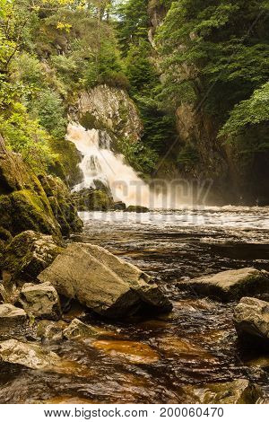Conwy Falls or in Welsh Rhaeadr y Graig Lwyd on the River Conwy at Bro Garmon near Betws y Coed North Wales