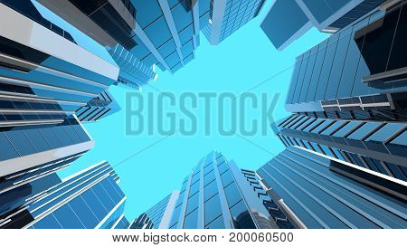 3D illustration of modern corporate skyscrapers with reflective blue windows. The camera is looking straight at the sky.