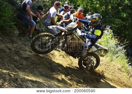 Sibiu, Romania - July 12 - 16 July: Copetitors In Red Bull Romaniacs Hard Enduro Rally With A Ktm Mo