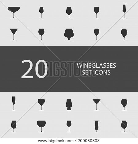 Wineglasses set of flat icons. Simple vector illustration