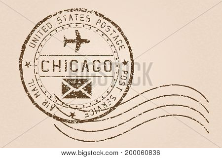 Chicago mail stamp. Old faded retro styled impress. Vector illustration