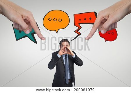 Digital composite of Hands pointing at business man against white background with icons