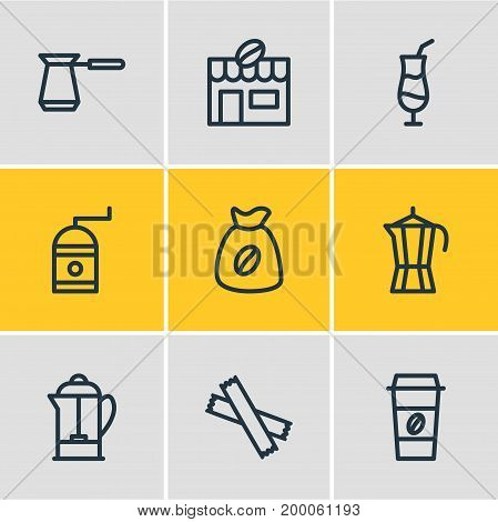 Editable Pack Of Mocha, Drink Pot, Sweetener And Other Elements.  Vector Illustration Of 9 Coffee Icons.