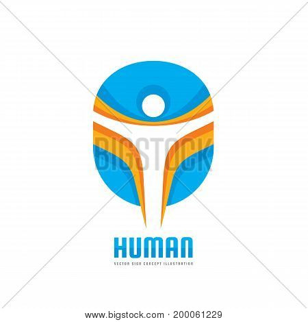 Human character - vector logo template concept illustration. Abstract man silhouette. Design element.