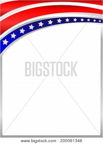 Abstract American flag on top of the frame with empty space for text.