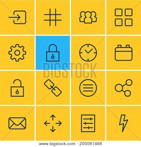 Editable Pack Of Letter, Padlock, Cube And Other Elements.  Vector Illustration Of 16 Application Icons.