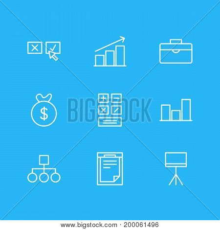 Editable Pack Of Graph, Portfolio, Scheme And Other Elements.  Vector Illustration Of 9 Management Icons.