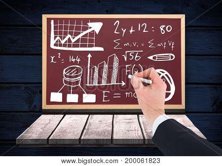 Digital composite of Hand writing math equations on blackboard