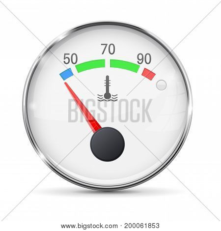 Car engine temperature gauge. Cold. With metal frame. Vector 3d illustration isolated on white background